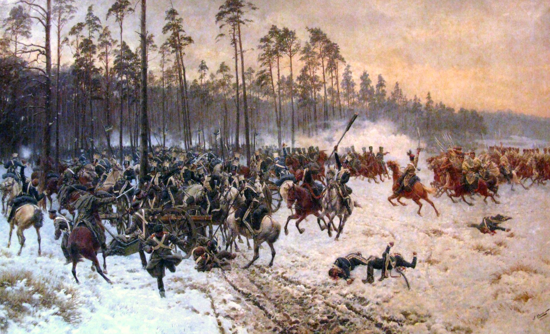 """Ilustracja przedstawia obraz Wojciecha Kossaka """"Olszynka Grochowska"""". Pierwszoplanowymi bohaterami są Czwartacy ― żołnierze czwartego Pułku Piechoty Liniowej, którzy strzelają do niewidocznych na obrazie przeciwników. Niektórzy padają pod pociskami wroga. Woddali widać armaty. Na drugim planie grupa wojskowych dosiadających koni otacza cywila wjasnym płaszczu icylindrze."""