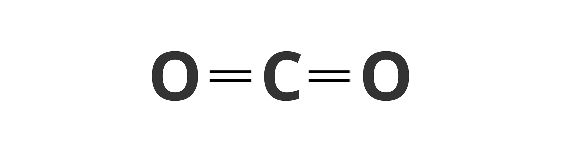 Ilustracja przedstawia wzór strukturalny dwutlenku węgla zatomem węgla wśrodku ipołączonymi znim wiązaniami podwójnymi dwoma atomami tlenu po bokach.