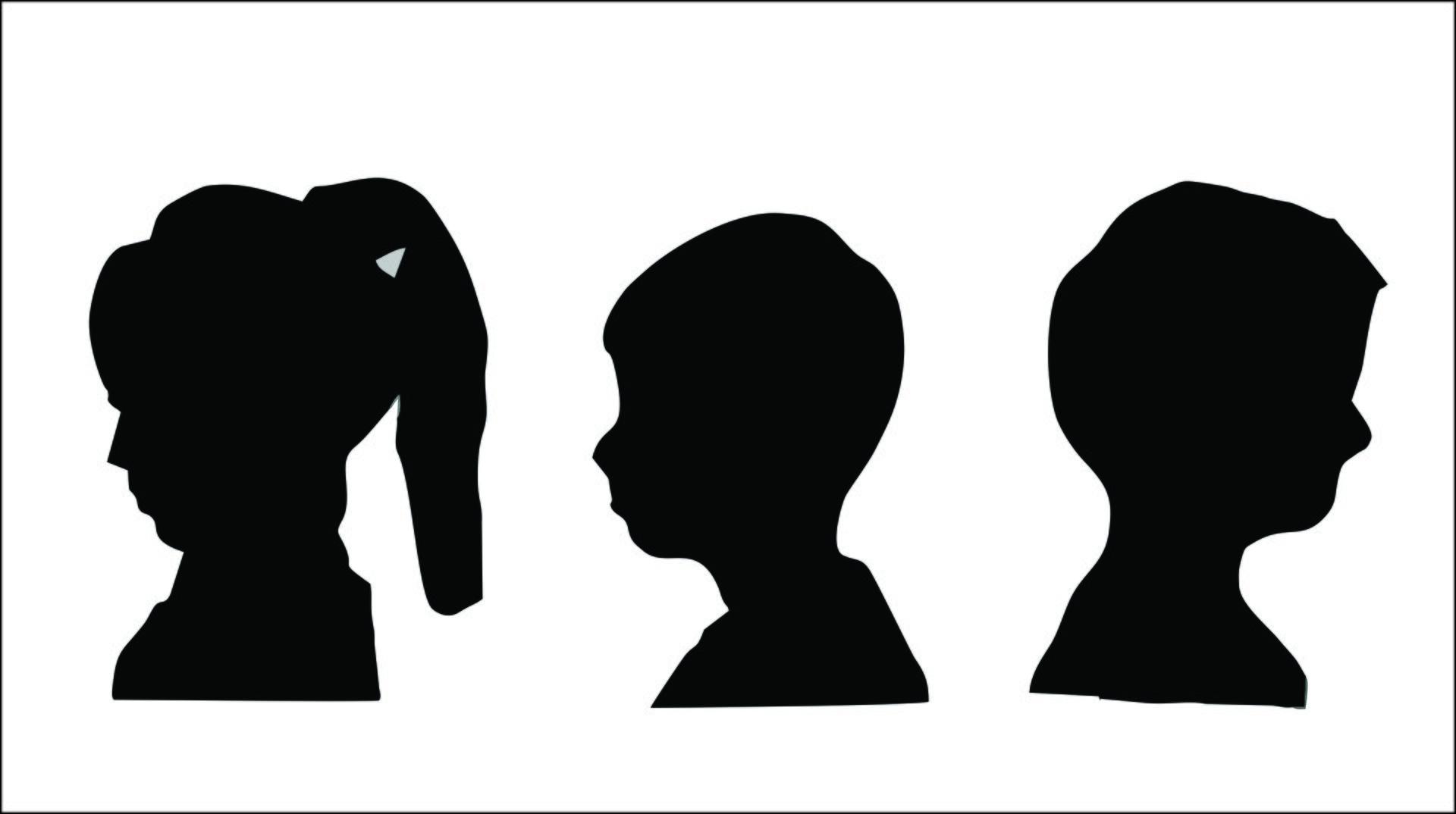 Ilustracja przedstawia trzy przykłady portretów sylwetkowych. Pierwszy należy do dziewczynki, na co wskazują długie, spięte wkucyk włosy. Dwa pozostałe to portrety chłopców okrótkich włosach.