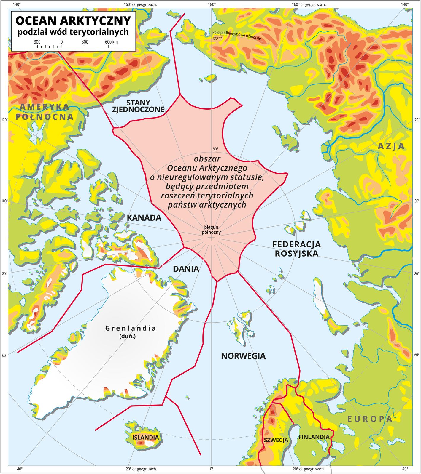 Ilustracja przedstawia mapę Oceanu Arktycznego. Na mapie przedstawiono podział wód terytorialnych. Poprowadzono czerwone linie. Przypisano obszary Oceanu Arktycznego Stanom Zjednoczonym, Kanadzie, Danii, Norwegii, Federacji Rosyjskiej. Centralną cześć Oceanu Arktycznego wokół bieguna północnego opisano jako obszar Oceanu Arktycznego onieuregulowanym statusie, będący przedmiotem roszczeń terytorialnych państw arktycznych. Na mapie południki irównoleżniki. Dookoła mapy wbiałej ramce opisano współrzędne geograficzne co dwadzieścia stopni.
