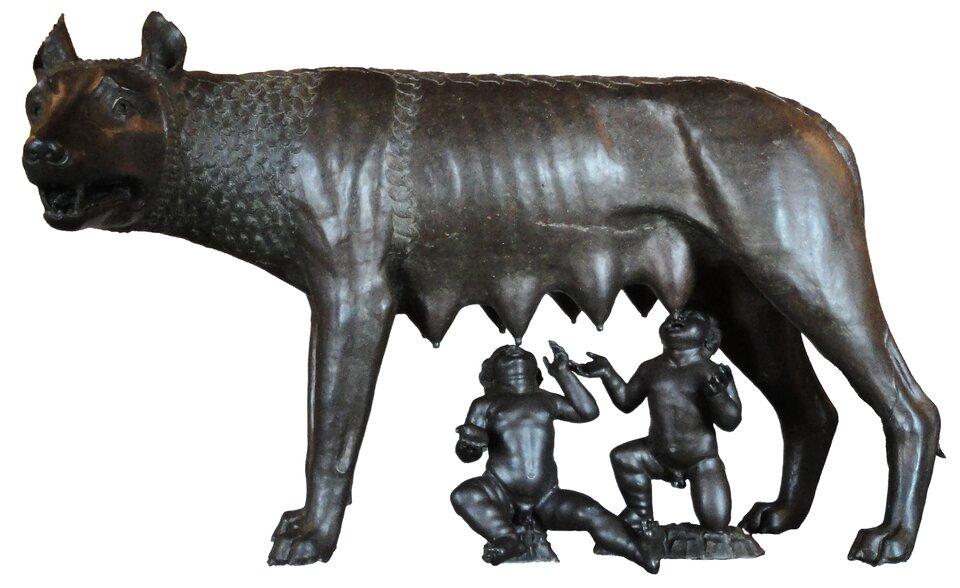 Wilczyca kapitolińska karmiąca Romulusa iRemusa Wilczyca kapitolińska karmiąca Romulusa iRemusa Źródło: Talmoryair, Wikimedia Commons, licencja: CC BY 3.0.