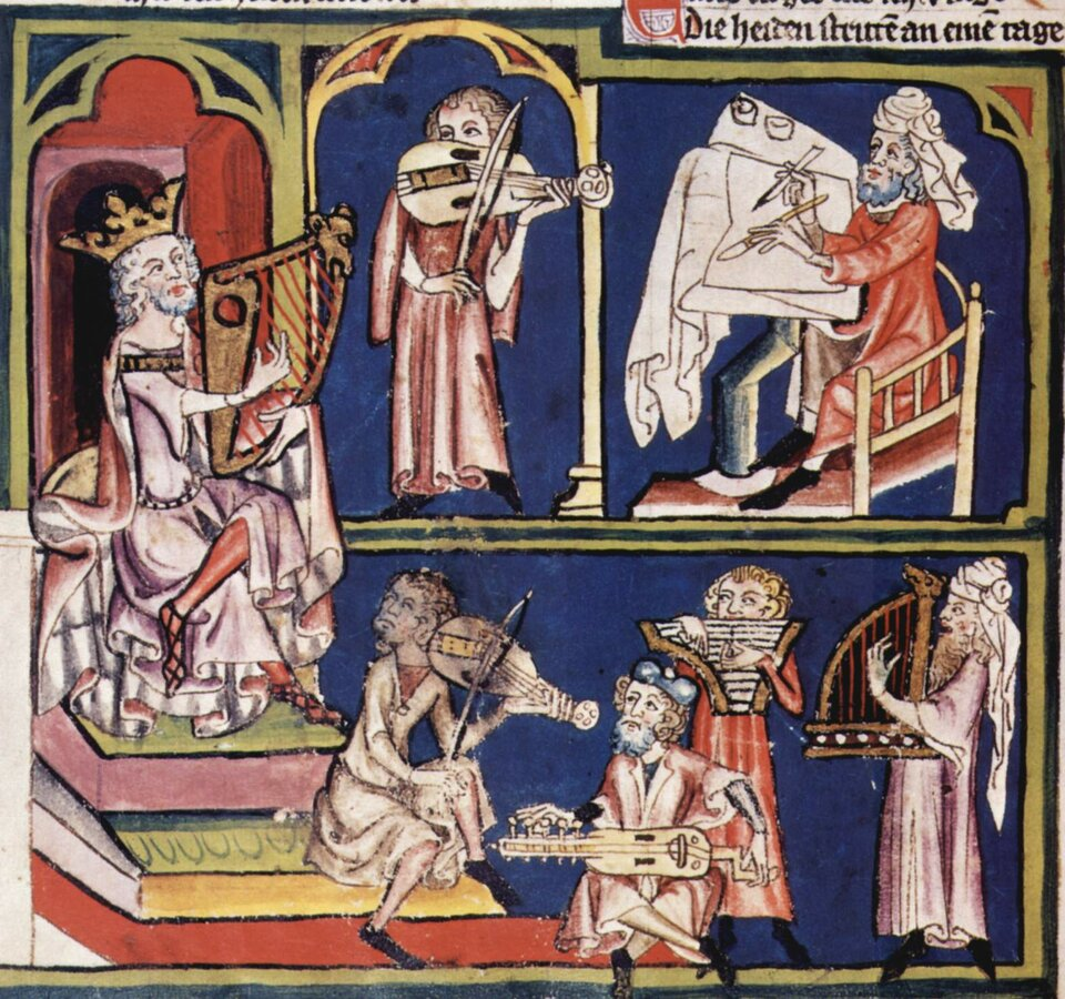 średniowiecnz aminiatura przedstawiającaKrólaDawid zmuzykami