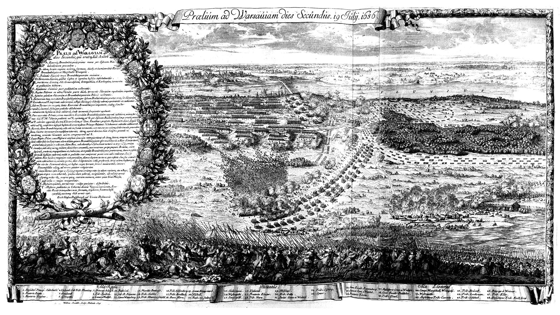 Drugi dzień bitwy pod Warszawą w1656 roku Źródło: Erik Dahlbergh, Drugi dzień bitwy pod Warszawą w1656 roku, 2 poł. XVII w., rycina, domena publiczna.