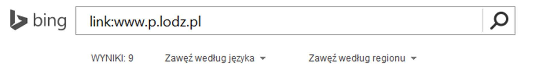 Zrzut paska wyszukiwarki Bing zwpisanym tekstem oraz Link