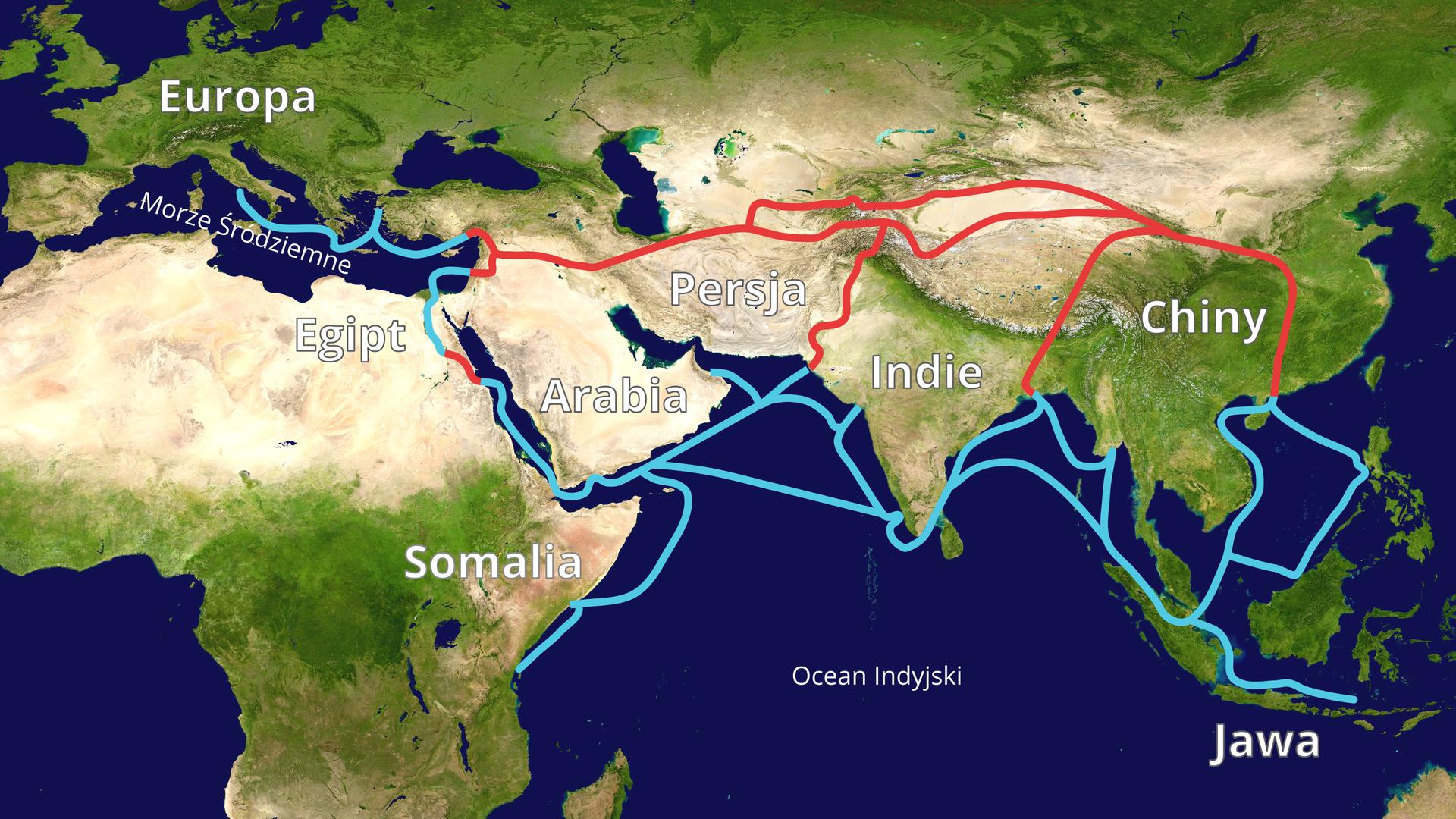 Ilustracja przedstawia mapę południowej części Europy iAzji oraz północną część Afryki. Morza ioceany przedstawione kolorem granatowym, alądy od intensywnie zielonego po jasnożółty wzależności, czy na danych terenach występuje roślinność (zielony), czy są to tereny pustynne (żółty). Na mapie opisane są Europa, Egipt, Somalia, Arabia, Persja, Indie, Chiny, Jawa, Morze Śródziemne iOcean Indyjski. Wyrysowane są szlaki prowadzące zWłoch do krajów opisanych na mapie. Szlaki wodne mają kolor niebieski, aszlaki lądowe kolor czerwony.