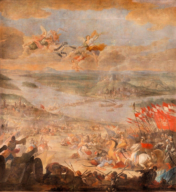 Bitwa pod Parkanami Bitwa pod Parkanami, podobnie jak drugie wielkoformatowedzieło Marcina Altomonte - Bitwa pod Wiedniem, znalazły swoje miejsce wkolegiacie podwezwaniem Królowej Niebios oraz świętychMęczenników Wawrzyńca ibpa Stanisława wŻółkwi. Przez prawie trzy stulecia zdobiły świątynię, budząc podziw odwiedzających miasto. Wroku 1972 zostały zdjęte ze ścian zamkniętego dla wiernych kościoła iprzekazane do Lwowskiej Galerii Sztuki. Tam zostały zapomniane idoprowadzone do fatalnegostanu.Dopiero w2008 roku, staraniem rządu polskiego ina koszt strony polskiej, zostały sprowadzone do Warszawy, gdzie przez trzy lata zespół polskich konserwatorów doprowadzał je do pierwotnej świetności. Źródło: Marcin Altomonte, Bitwa pod Parkanami, po 1684, olej na płótnie, Lwowska Narodowa Galeria Sztuki, domena publiczna.