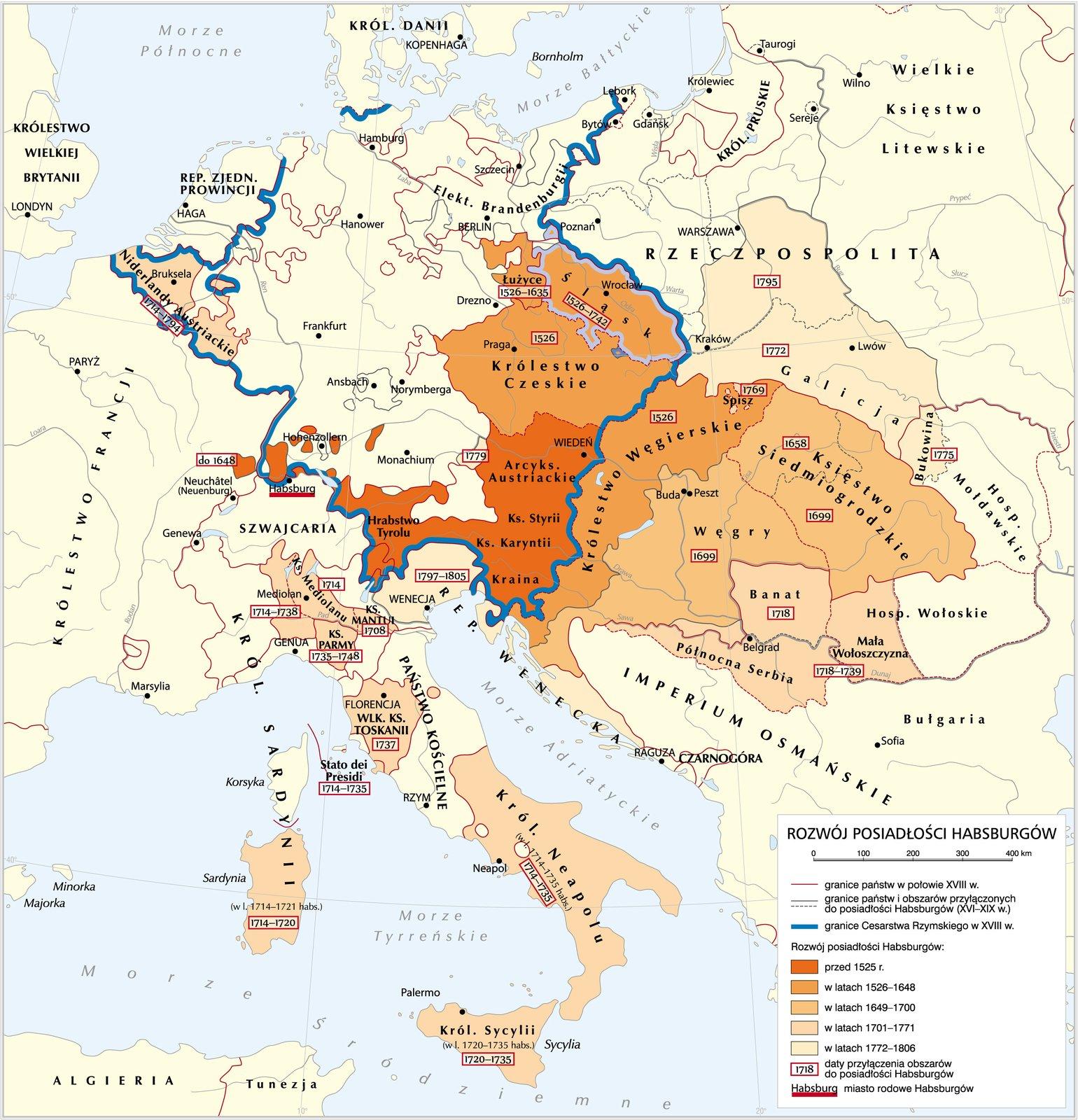 Rozwój posiadłości Habsburgów Rozwój posiadłości Habsburgów Źródło: Krystian Chariza izespół, licencja: CC BY-SA 3.0.