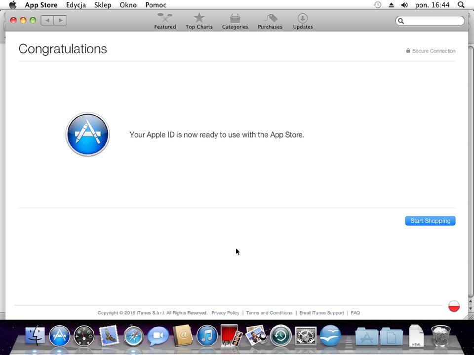 Zrzut okna 8 procesu zakładania konta wApp Store