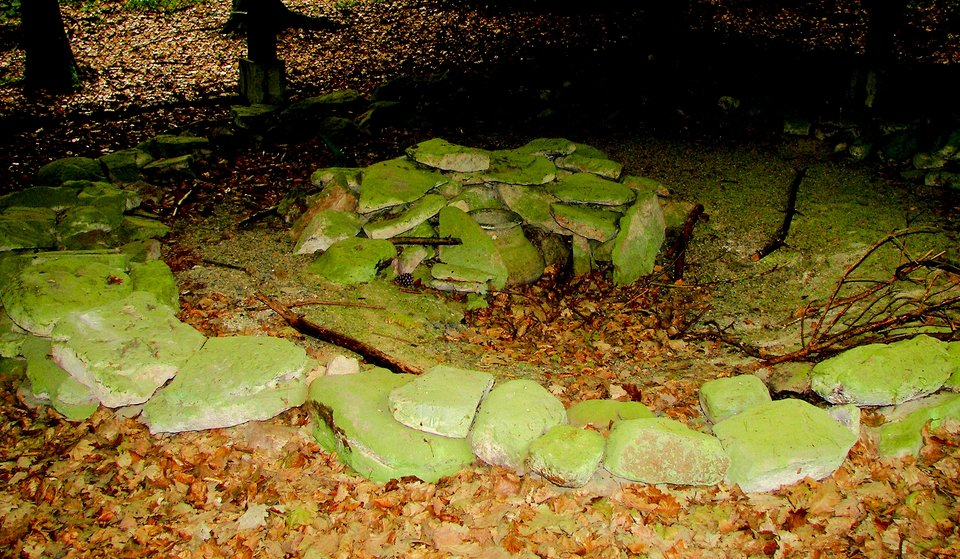 Mogiła wuniwersyteckim Ogrodzie Botanicznym na górze Lahnberge wMarburgu Odkryta mogiła wogrodzie botanicznym wLahnberge (Marburg). Źródło: Mogiła wuniwersyteckim Ogrodzie Botanicznym na górze Lahnberge wMarburgu, 2006, fotografia, licencja: CC BY-SA 1.0.