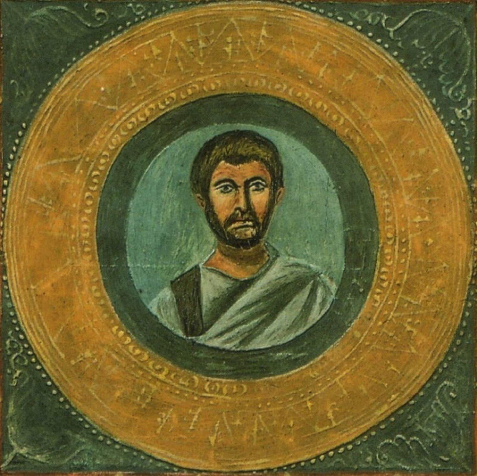 Fresk nieznanego autora przedstawia wizerunek Terencjusza, mężczyzny wśrednim wieku, okrótkich włosach oraz średniej długości zaroście. Terencjusz ubrany jest wjasną szatę zszarym pasem przewieszonym przez lewy bark. Portret mężczyzny został uwieczniony na zielonym tle. Wokół portretu widoczne są kolorowe pierścienie.