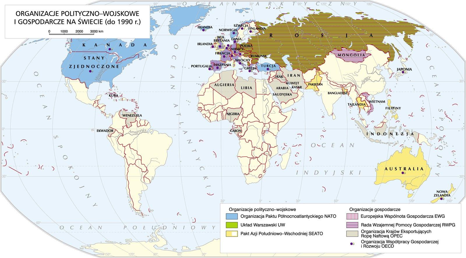 Organizacje międzynarodowe do 1990 Źródło: Krystian Chariza izespół, Organizacje międzynarodowe do 1990, licencja: CC BY-SA 3.0.