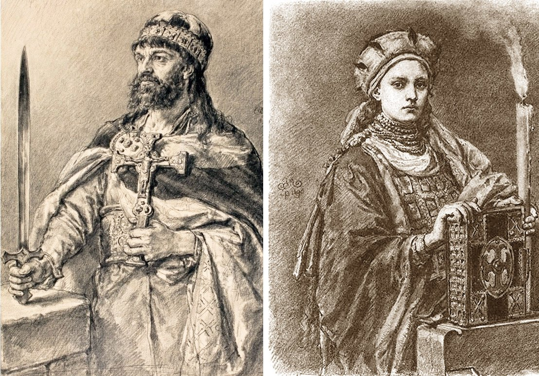 Mieszko IiDobrawa Źródło: Jan Matejko, Mieszko IiDobrawa, 1890–1892, rysunek ołówkiem, domena publiczna.