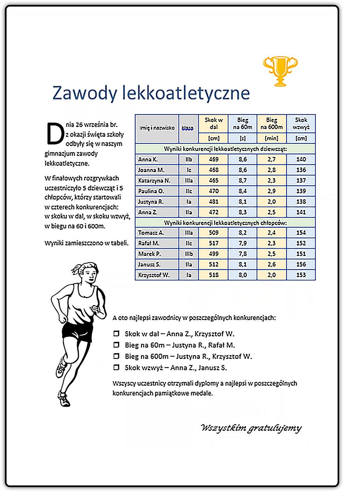 Slajd 1 galerii dokumentów tekstowych zawierających grafikę itabele