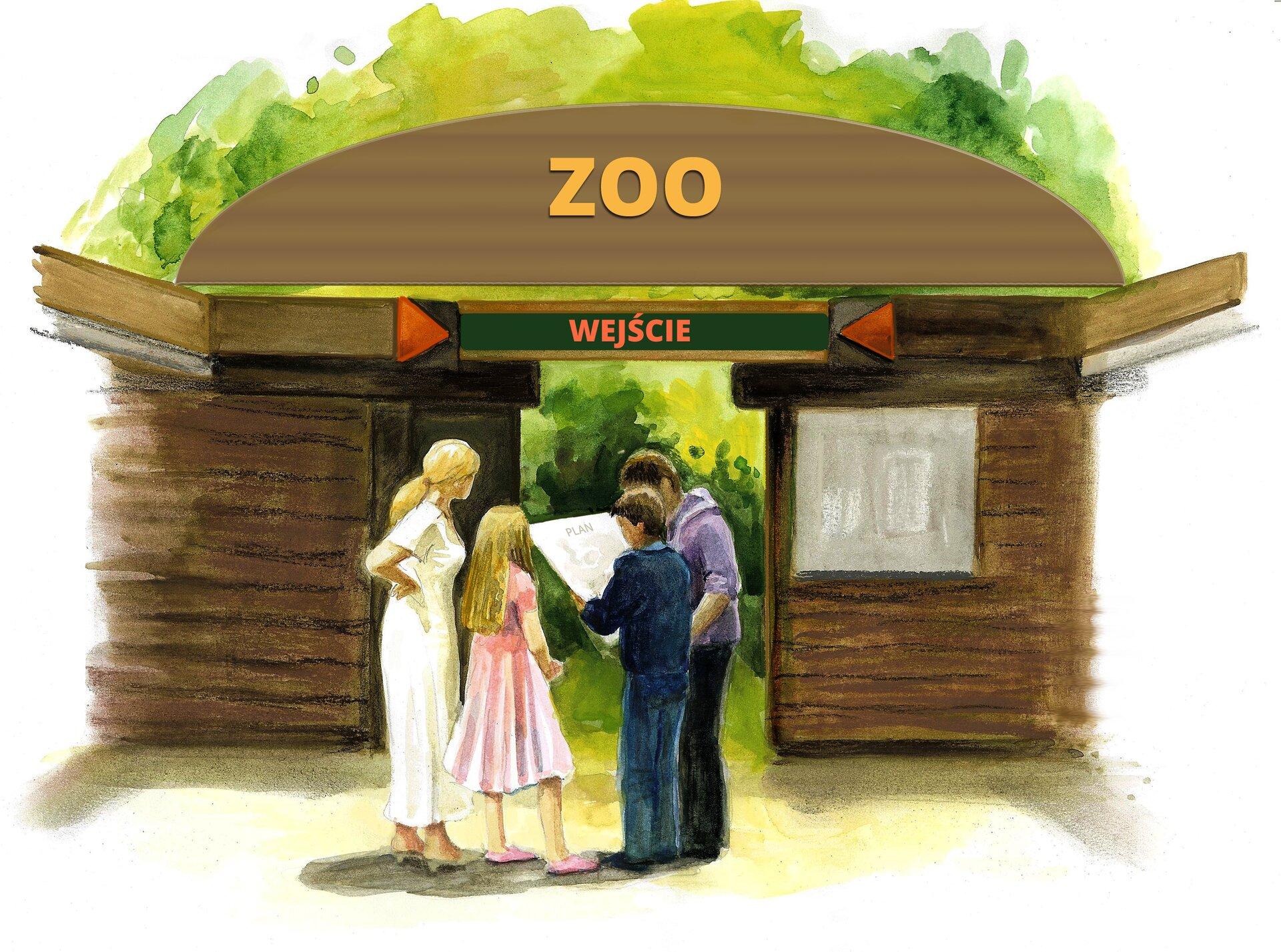Ilustracja przedstawiajaca rodzinę stojącą przed wejściem do ZOO