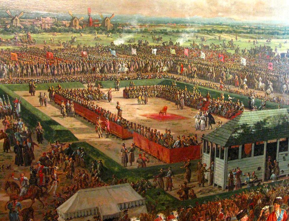 Elekcja 1764 Źródło: Bernardo Bellotto, Elekcja 1764, domena publiczna.