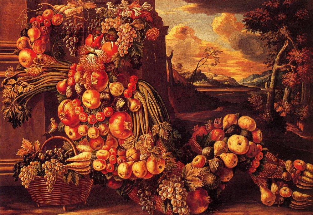 Siedząca postać lata Źródło: Giuseppe Arcimboldo, Siedząca postać lata, ok. 1570, olej na płótnie, Ex-Edward James Foundation, Sussex, domena publiczna.