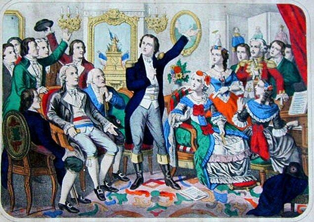 """Rouget de Lisle, kompozytor """"Marsylianki˝, śpiewa ją po raz pierwszy Pierwsze wykonanie Marsylianki, czyli """"Pieśni Wojennej Armii Renu˝ Źródło: Rouget de Lisle, kompozytor """"Marsylianki˝, śpiewa ją po raz pierwszy, domena publiczna."""