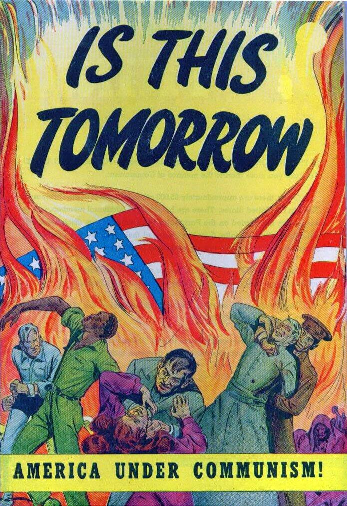 """Okładka propagandowego komiksu """"Is This Tomorrow"""" Źródło: Catechetical Guild, Okładka propagandowego komiksu """"Is This Tomorrow"""", domena publiczna."""