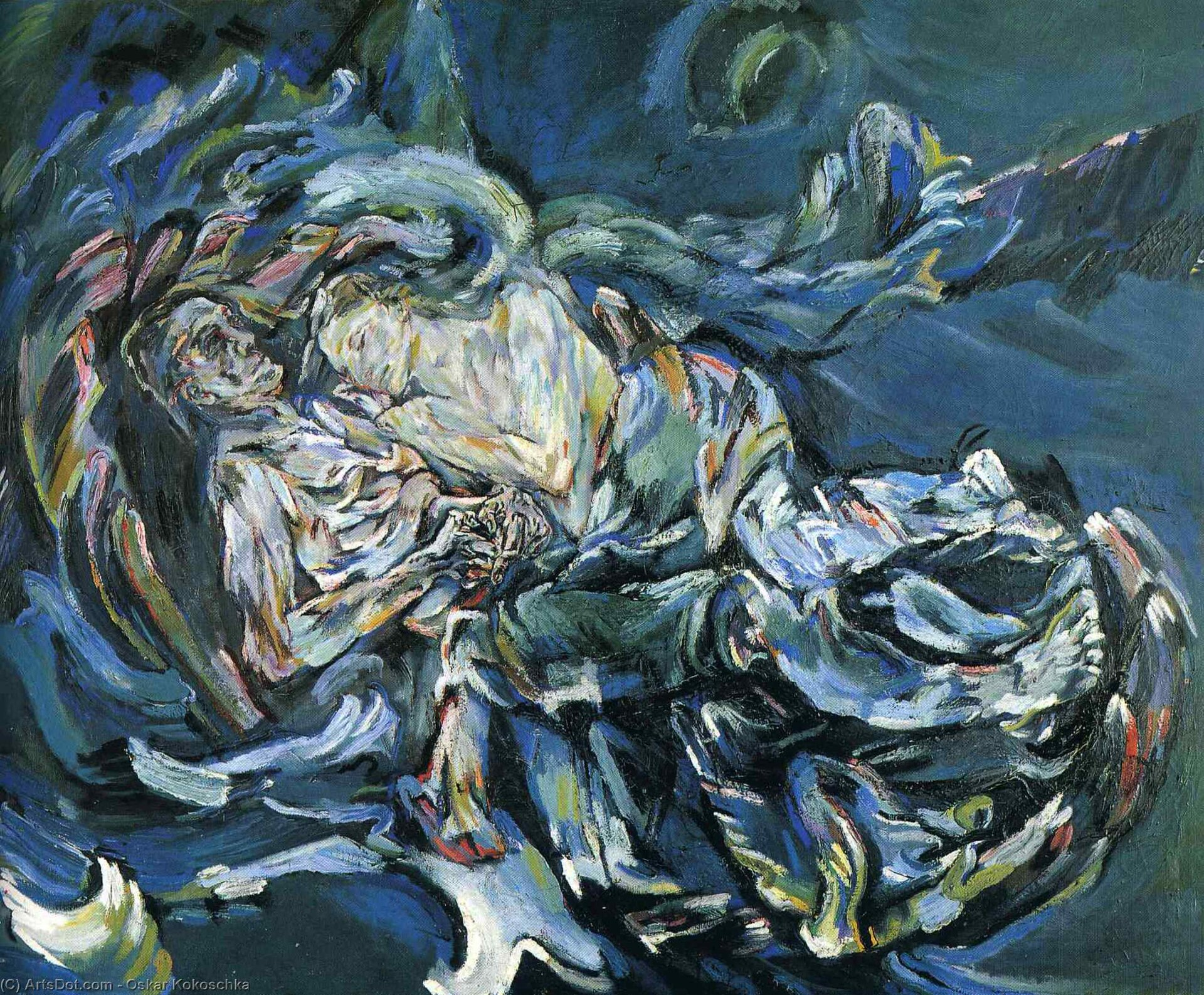"""Ilustracja przedstawia obraz Oskara Kokoschka pt. """"Narzeczona wiatru"""". Na płótnie widać dwie postacie. Kobieta wydaje się spokojna iodprężona. Mężczyzna niespokojnie czuwa, ajego dłonie są nerwowo splecione ze sobą. Wobrębie jego postaci pojawia się różowo-bordowa poświata. Obraz ukazany jest wlodowatych błękitach, zieleniach iszarościach zakcentami rozbielonego różu."""