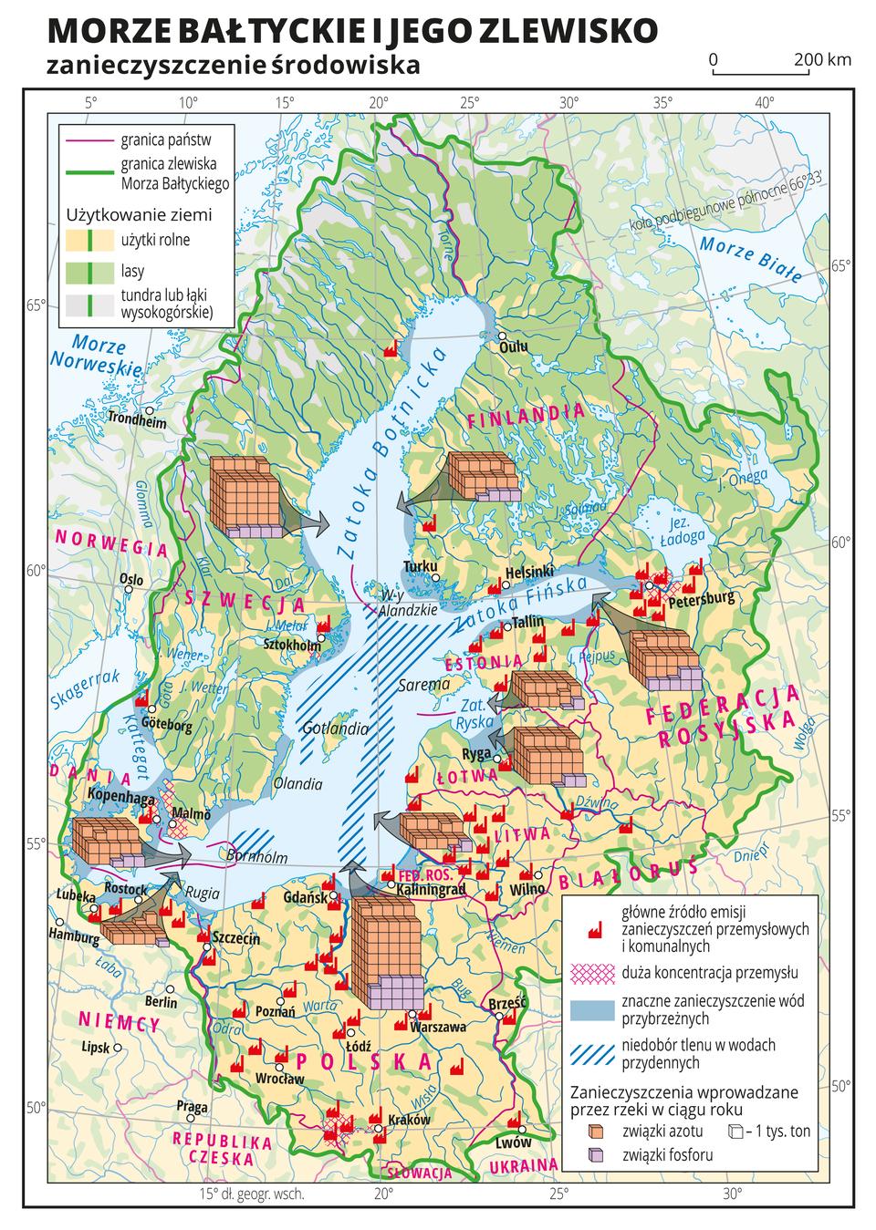 Ilustracja przedstawia mapę Morza Bałtyckiego ijego zlewisko. Na mapie przedstawiono zanieczyszczenie wód Morza Bałtyckiego, jakie dostają się do tam zterenu zlewiska. Tłem mapy są kolory obrazujące użytkowanie ziemi: kolorem zielonym oznaczono lasy – głównie Skandynawia, kolorem żółtym oznaczono użytki rolne – Polska, Dania, Niemcy, Litwa, Łotwa, Estonia. Na mapie opisano nazwy wysp, państw, mórz, zatok, rzek ijezior. Oznaczono białymi kropkami iopisano główne miasta. Czerwonymi liniami zaznaczono granice między państwami, azieloną linią oznaczono granicę zlewiska Morza Bałtyckiego. Za pomocą sygnatury fabryki przedstawiono główne źródła emisji zanieczyszczeń przemysłowych ikomunalnych, czerwonym kreskowaniem zaznaczono obszary odużej koncentracji przemysłu. Za pomocą diagramów przedstawiono wielkość zanieczyszczeń wprowadzanych do Morza Bałtyckiego przez rzeki wposzczególnych państwach. Największy diagram jest umieszczony na terenie Polski, adalej Szwecji, Łotwy iFederacji Rosyjskiej. Najmniej zanieczyszczeń wprowadzają do Morza Bałtyckiego rzeki zterenu Niemiec. Kolorem niebieskim oznaczono duże zanieczyszczenia wód przybrzeżnych: Zatoka Fińska, Cieśnina Kattegat, Zatoka Ryska, Zatoka Gdańska. Niedobór tlenu wwodach przydennych oznaczono niebieskim kreskowaniem. Występuje on wcentralnej części Morza Bałtyckiego.Mapa pokryta jest równoleżnikami ipołudnikami. Dookoła mapy wbiałej ramce opisano współrzędne geograficzne co pięć stopni. Wlegendzie umieszczono iopisano znaki ikolory użyte na mapie.
