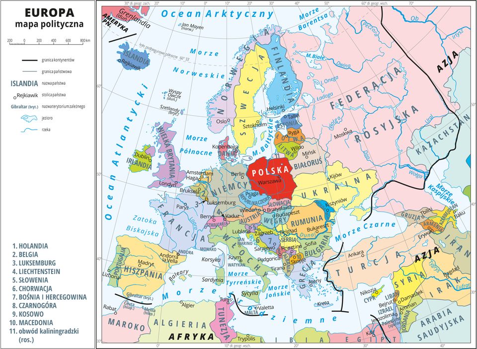 Przegląd Państw Na Mapie Politycznej Europy Epodrecznikipl