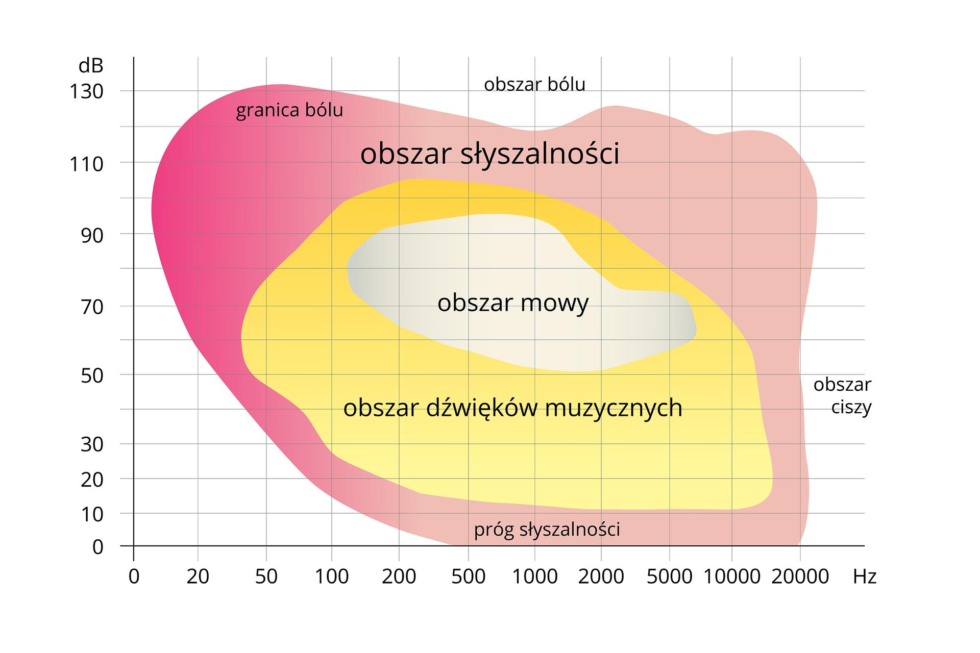 Wykres przedstawia wrażliwość ucha na dźwięki. Na osi Xczęstotliwość dźwięku whercach. Na osi Ypoziom natężenia dźwięku wdecybelach. Udołu podpisany próg słyszalności, ugóry obszar bólu. Zprawej obszar ciszy. Różowy obszary oznacza słyszalność. Mieści się wnim żółty obszar dźwięków muzycznych ibiały obszar mowy. Ugóry zlewej przyciemniona granica bólu.