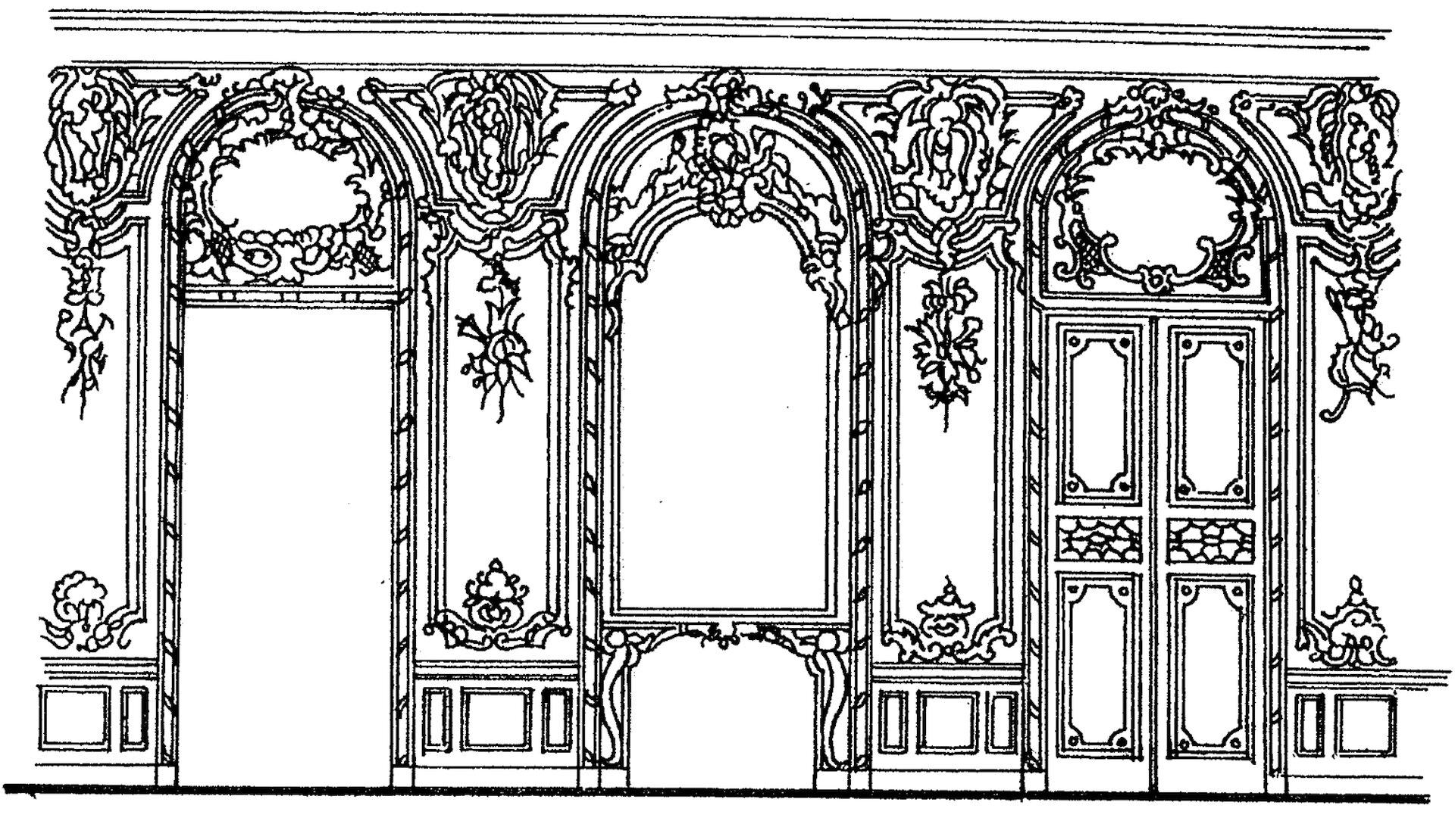 Ilustracja przedstawia podział ścian na pola dekoracyjne (panneau).