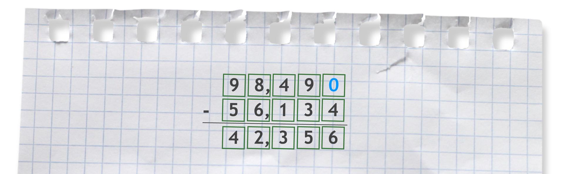 Przykład odejmowania sposobem pisemnym: 98,49 -56,134 =42,356. Odejmując te liczby należy dopisać 0 na końcu liczby 98,49. Otrzymamy zapis: 98,490 -56,134 =42,356.