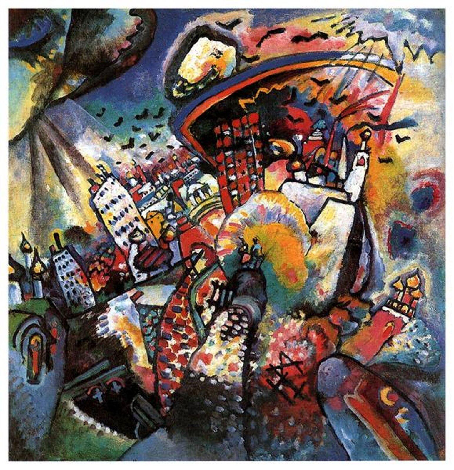 """Ilustracja przedstawia obraz Wassilego Kandinskiego """"Moskwa I"""". Ukazuje Plac Czerwony zkrajobrazem miejskim. Kształty są zdynamizowane, miasto zaczyna wibrować. Malarz stosuje deformację iżywe kolory, akształty wyodrębnia za pomocą czarnego konturu, którym oddziela plamy barwne. Nad miastem unosi się stado ptaków. Zchmur wybywają się smugi światła. Na środku obrazu znajduje się miniaturowa para małych ludzi otoczona przez miasto."""