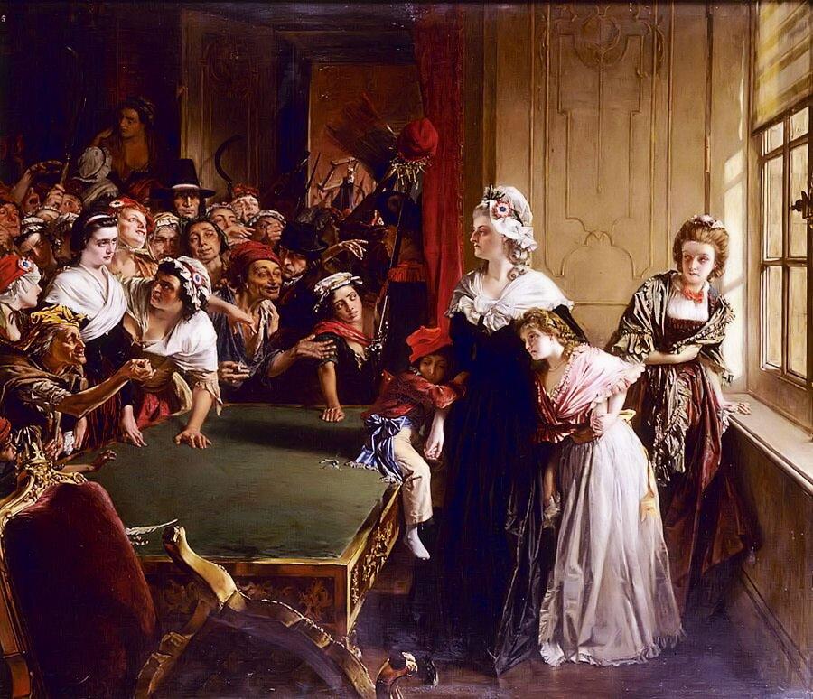 Na obrazie przedstawiona została grupa ludzi. Wśród nich królowaMaria Antonina ze swymi dziećmi, które są wyraźnie przestraszona, azdrugiej strony stołuwzburzonytłum poddanych krzyczący coś wstronę królowej.