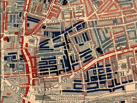 Mapa ubóstwa Źródło: Charles Booth, Mapa ubóstwa, 1889, domena publiczna.