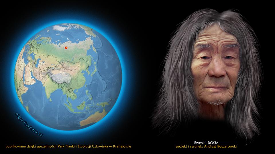 Na ilustracji kula ziemska, zaznaczono punkt wpółnocnej Rosji. Obok twarz mężczyzny zdługimi ciemnymi włosami. Podpis – Ewenk.