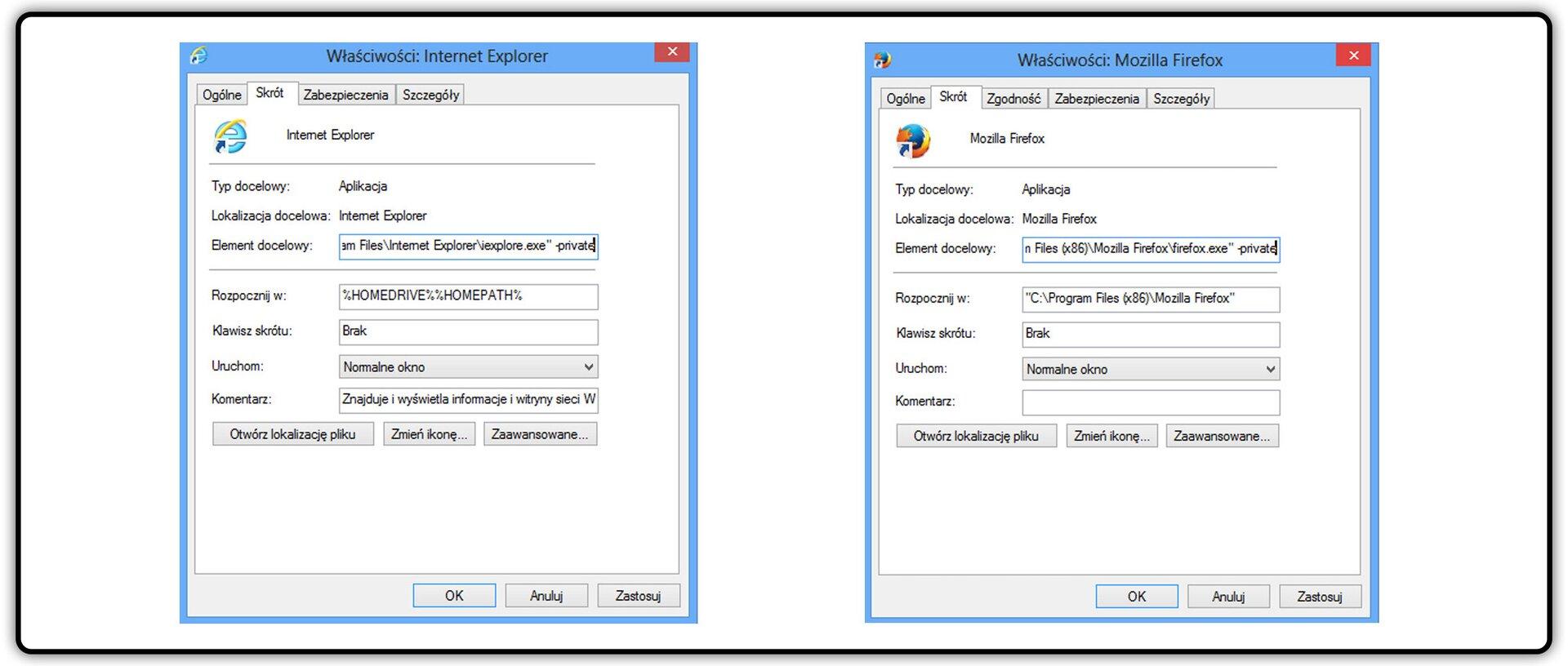 Zrzut okna: Właściwości przegladarki Internet Explorer oraz Mozilla Firefox