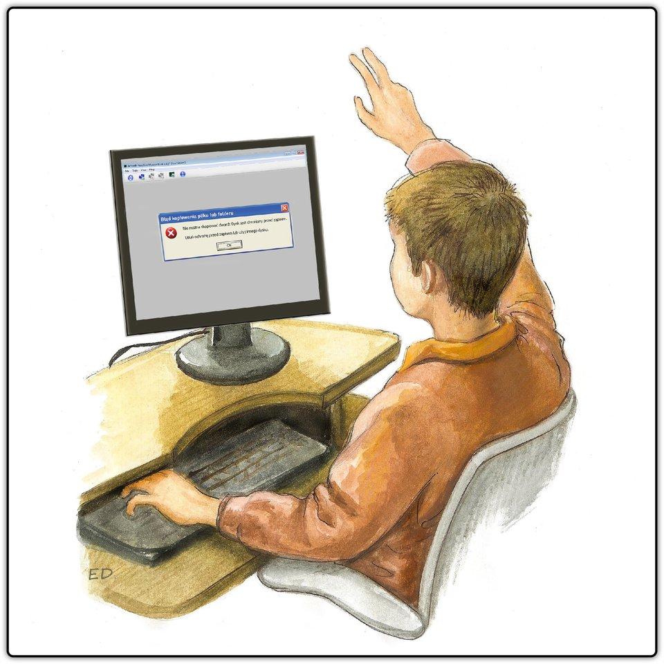Ilustracja przedstawiająca chłopca siedzącego przed komputerem izgłaszającego problem