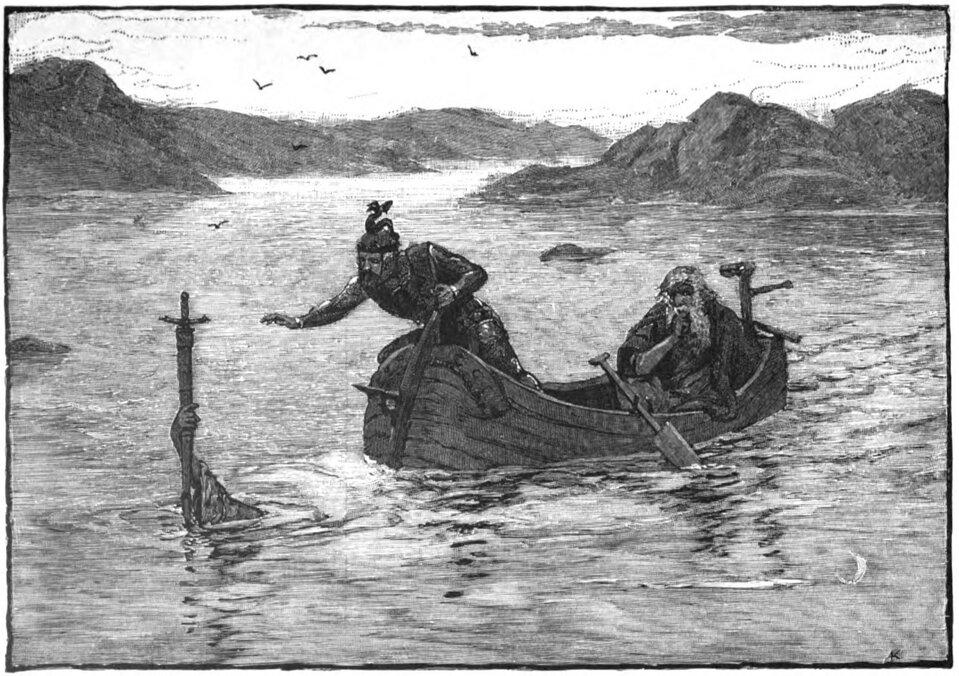 Pani Jeziora przekazuje Ekskalibura królowi Arturowi Źródło: Alfred Kappes, Pani Jeziora przekazuje Ekskalibura królowi Arturowi, 1880, domena publiczna.