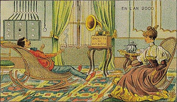 Francja wroku 2000. Gazeta dźwiękowa Źródło: Villemard, Francja wroku 2000. Gazeta dźwiękowa, 1910, domena publiczna.
