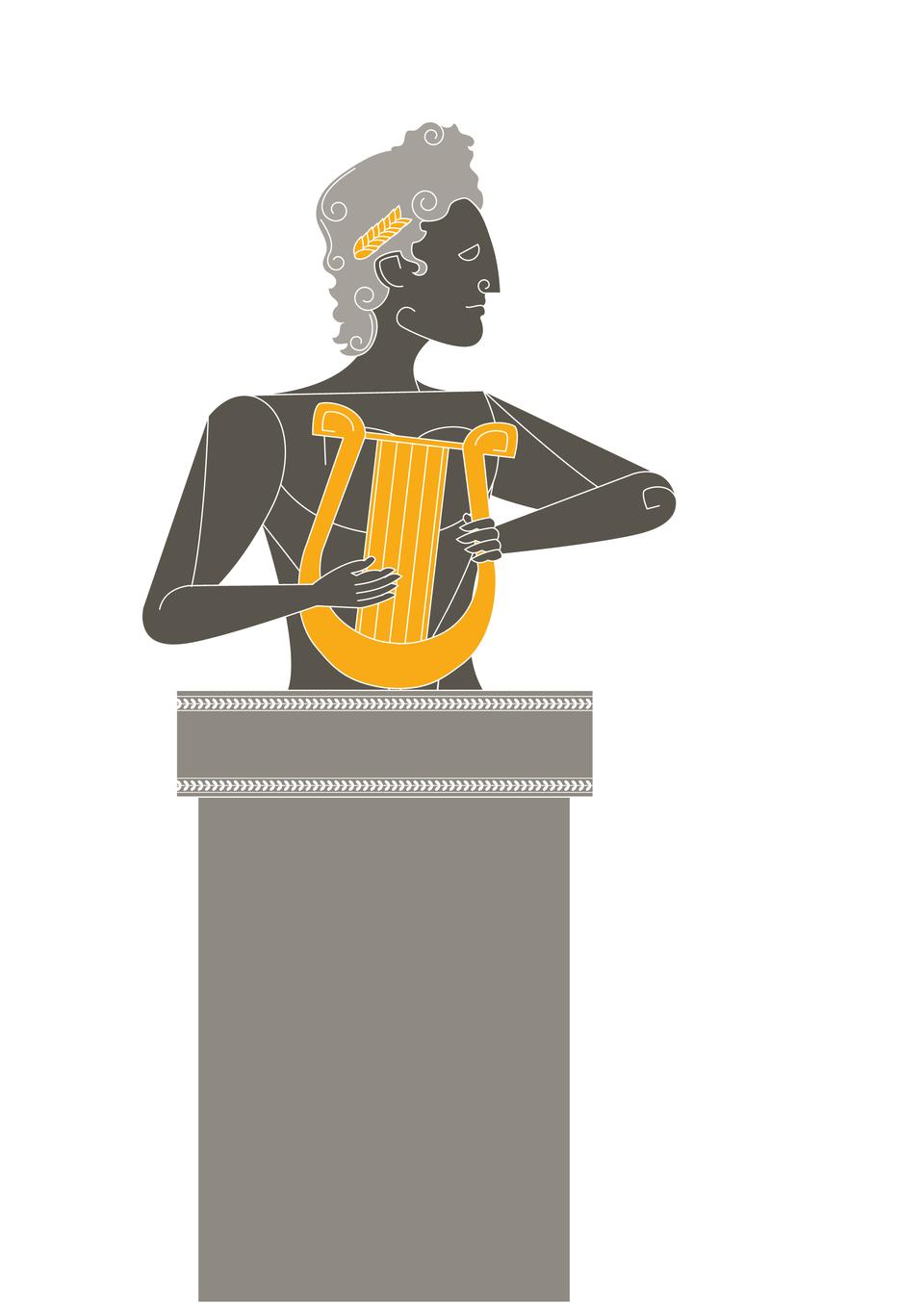 Grecy wyobrażali sobie Apolla, syna Zeusa, jako najpiękniejszego zbogów. Miał długie loki inosił na głowie wieniec laurowy. Młodzieniec trzymał wręku lirę, na której pięknie grał. Opiekował się muzyką, poezją iwróżbiarstwem Grecy wyobrażali sobie Apolla, syna Zeusa, jako najpiękniejszego zbogów. Miał długie loki inosił na głowie wieniec laurowy. Młodzieniec trzymał wręku lirę, na której pięknie grał. Opiekował się muzyką, poezją iwróżbiarstwem Źródło: Contentplus.pl sp. zo.o., licencja: CC BY 3.0.