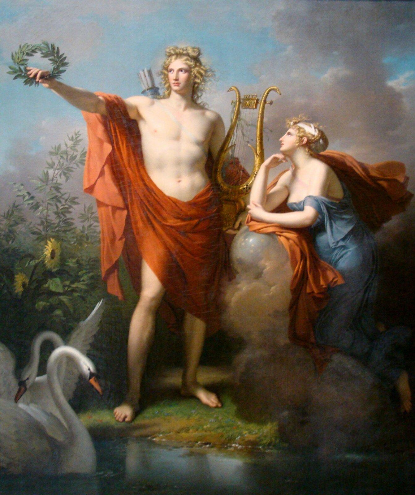 """Ilustracja przedstawiająca obraz Charlesa Meyniera pt. """"Apollo iUrania, muzy astronomii"""". Obraz przedstawia boga Apolla, który wjednej dłoni trzyma lirę, awdrugiej wieniec. Obok niego klęczy kobieta."""
