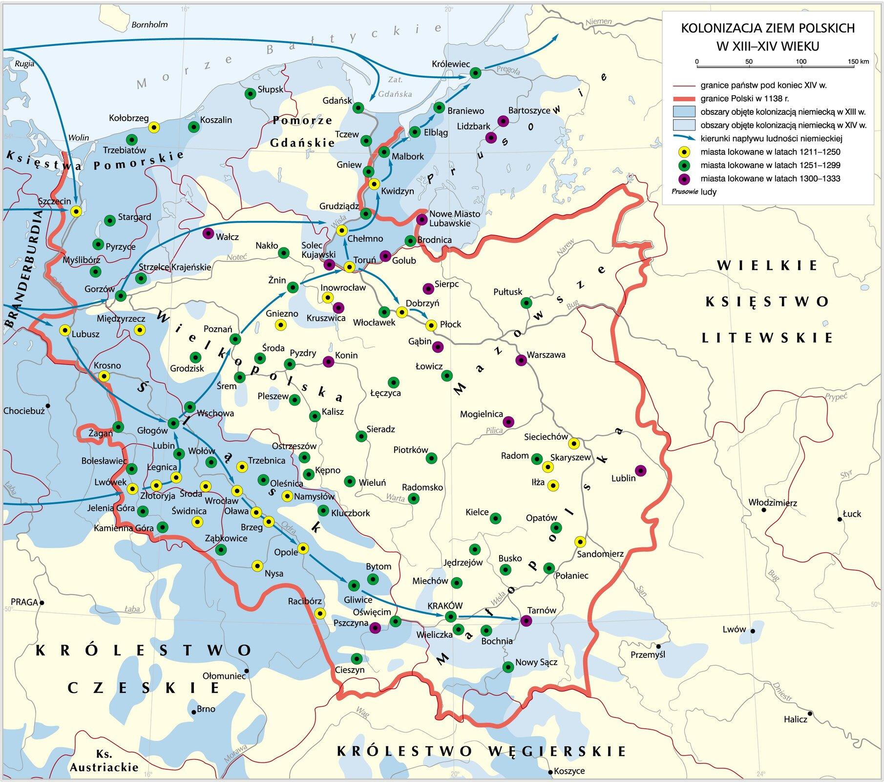 Kolonizacja na prawie niemieckim do 1333 r. Kolonizacja na prawie niemieckim do 1333 r. Źródło: Krystian Chariza izespół, licencja: CC BY 4.0.