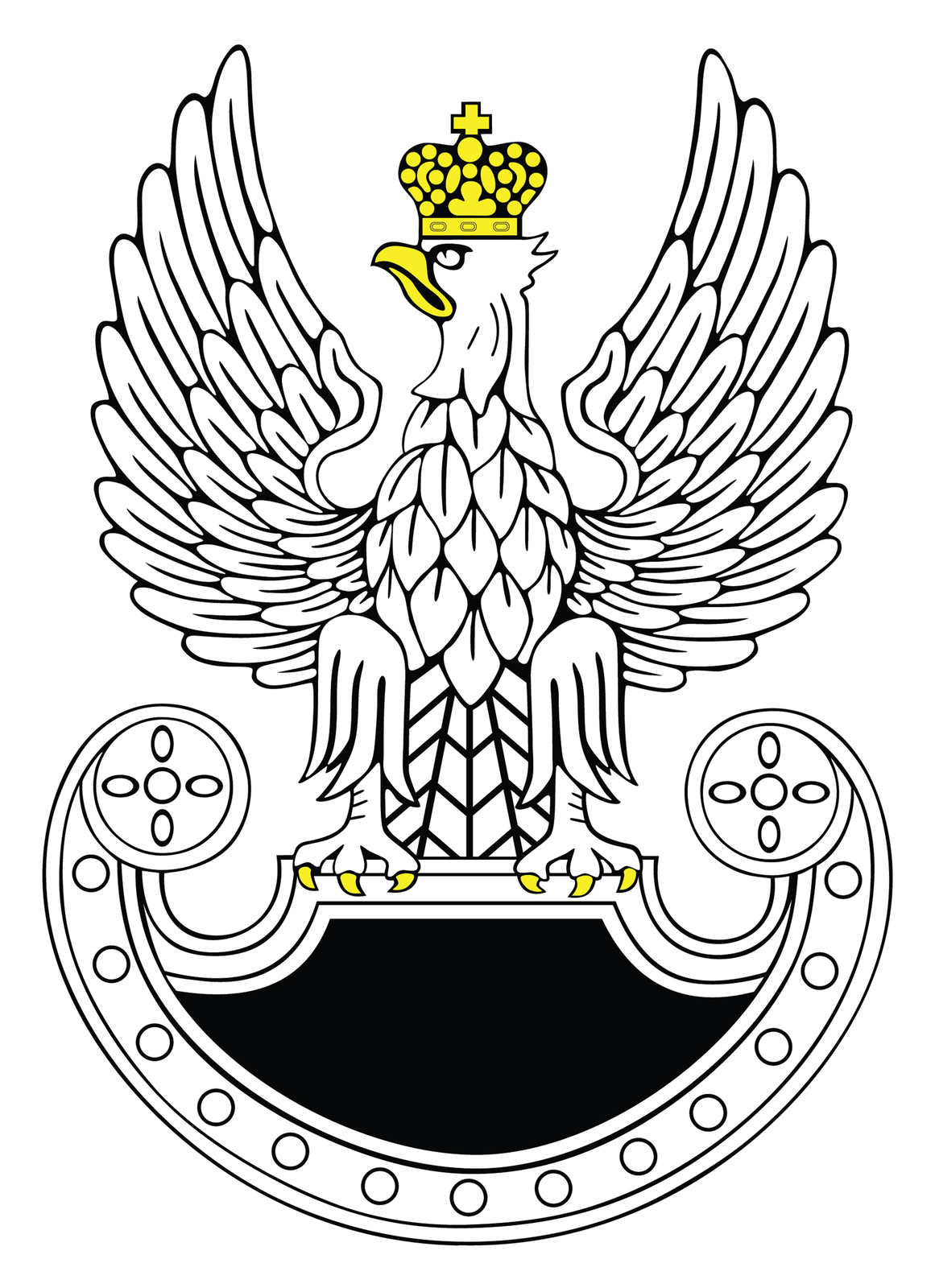 Ilustracja przedstawia symbol wojsk specjalnych stylizowany na godło orła polskiego. Biały orzeł ze skrzydłami wzniesionymi ku górze. Głowa zżółtym dziobem skierowana wprawo. Na głowie żółta korona. Na szczycie korony krzyż równoramienny. Szpony orła zakończone żółtymi pazurami przytrzymują tarczę. Orzeł osadzony jest na tarczy amazonek. Tarcza zakończone półkoliście wdolnej części. Kształt tarczy tworzy formę półksiężyca ułożonego poziomo. Końce tarczy zaokrąglone. Wnętrze tarczy czarne.