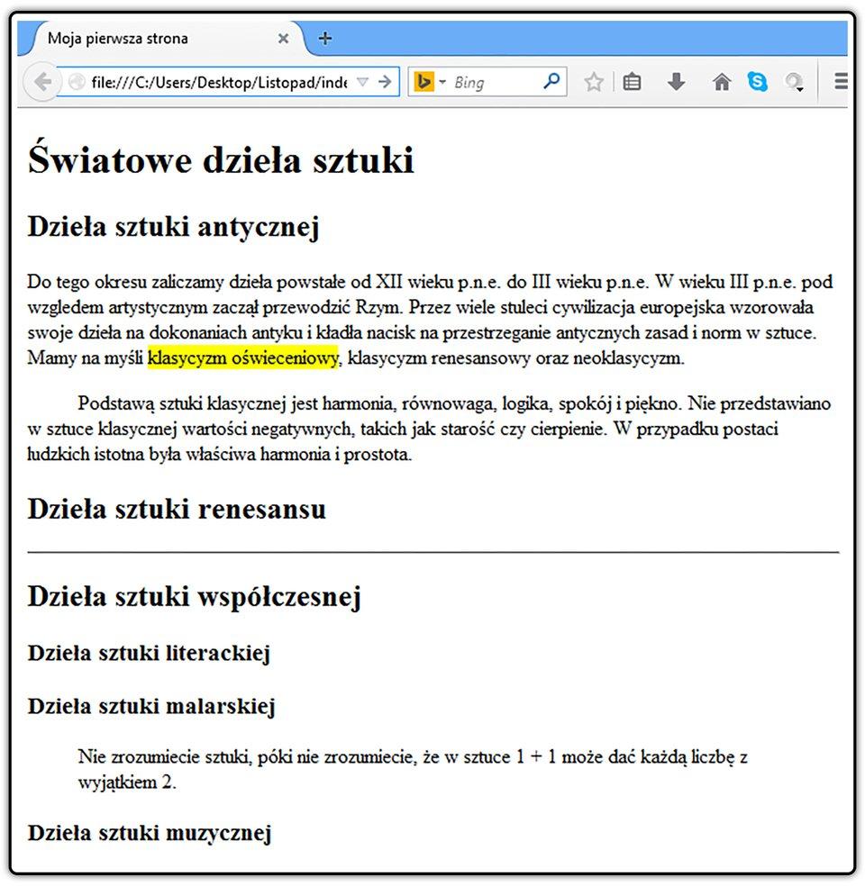 Zrzut widoku strony dokumentu HTML zumieszczonym cytatem
