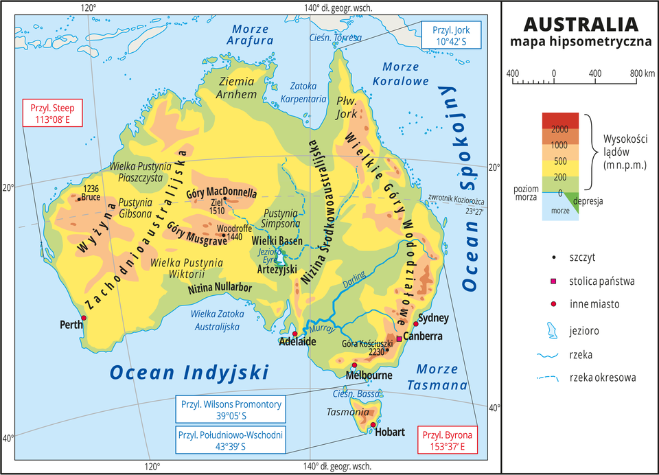 Australia – mapa hipsometryczna