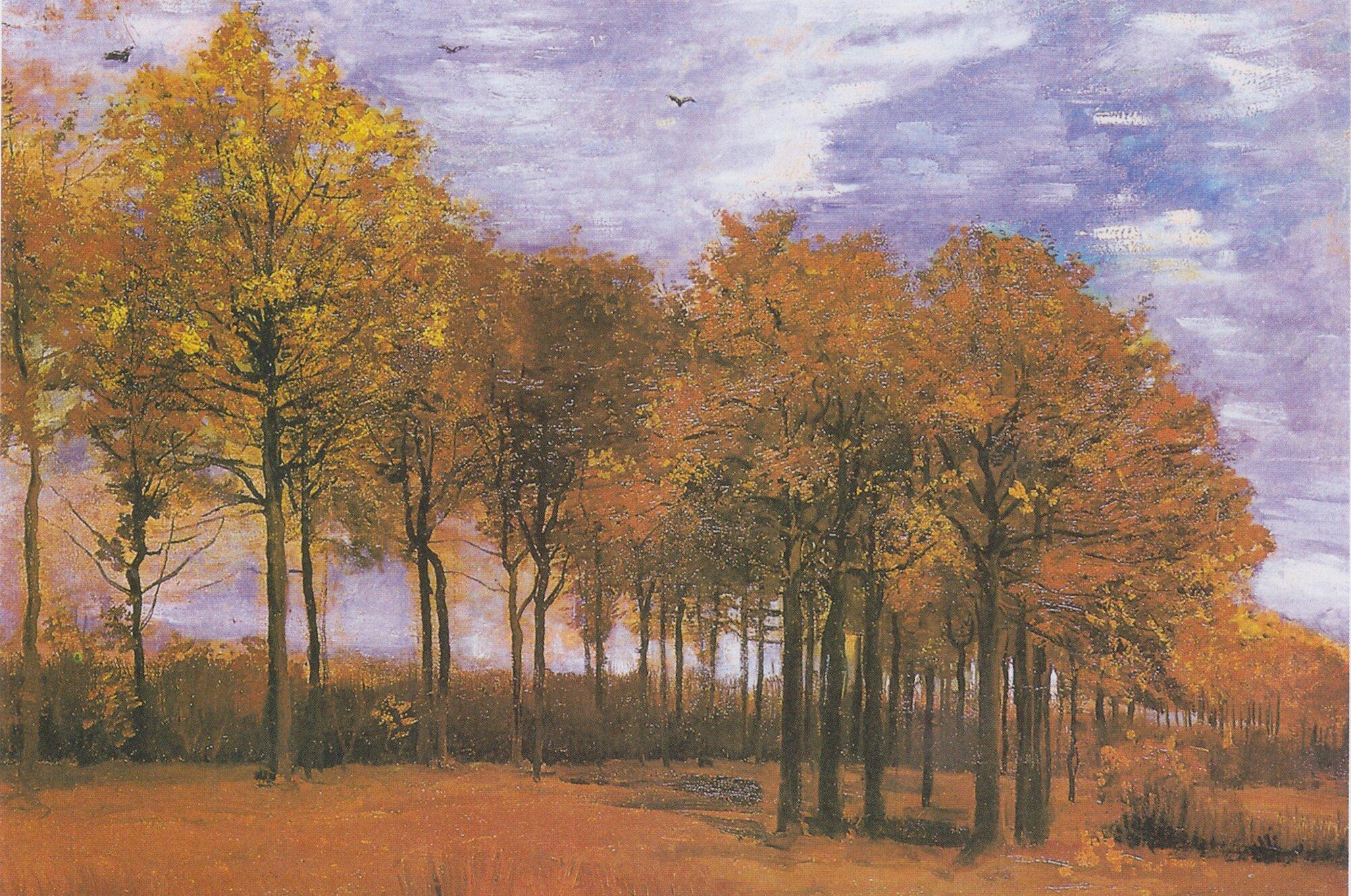 Jesienny pejzaż Źródło: Vincent van Gogh, Jesienny pejzaż, 1885, domena publiczna.