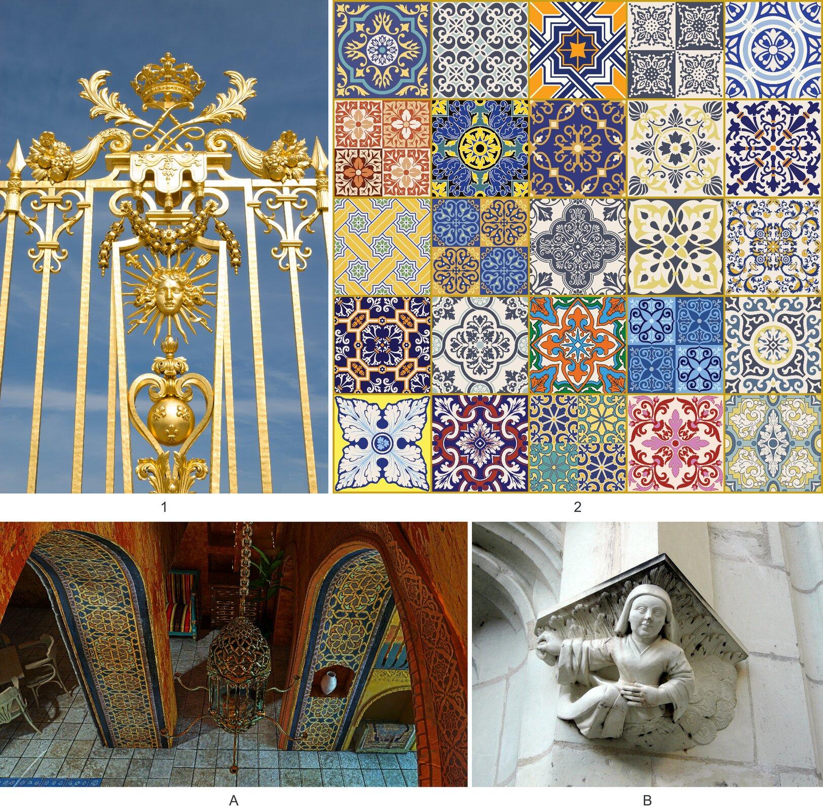 Ilustracja przedstawia cztery fotografie 1. bogato zdobiona złota brama 2. kolorowe kwadratowe płytki oróżnych wzorach 3. Widok na salę zgóry na której znajdują się płytki. Łuki ścienne ozdobione są kolorowymi płytkami. 4. Ornament przedstawiający dziecko. Ornament zamontowany jest na ścianie.
