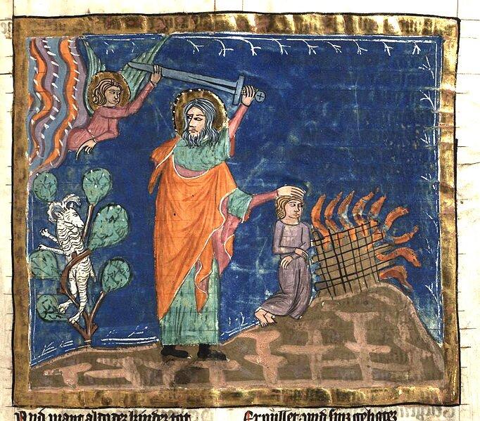 Anioł powstrzymuje Abrahama przed zabiciem Izaaka Źródło: autor nieznany, Anioł powstrzymuje Abrahama przed zabiciem Izaaka, między 1350 a1375, Hochschul- und Landesbibliothek Fulda, domena publiczna.