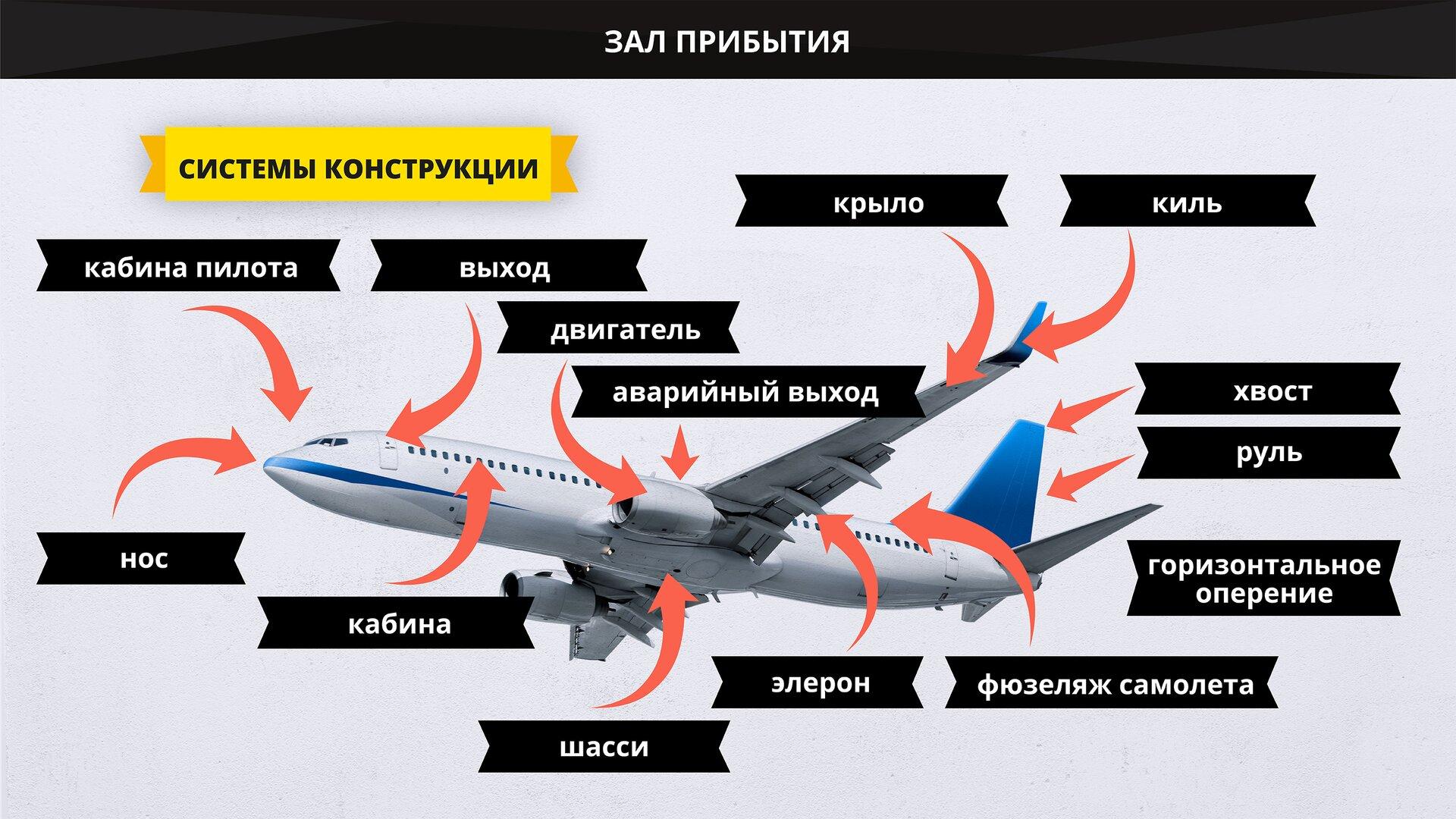 На изображении представлены элементы конструкции самолета. Grafika przedstawia główne zespoły konstrukcyjne samolotu.