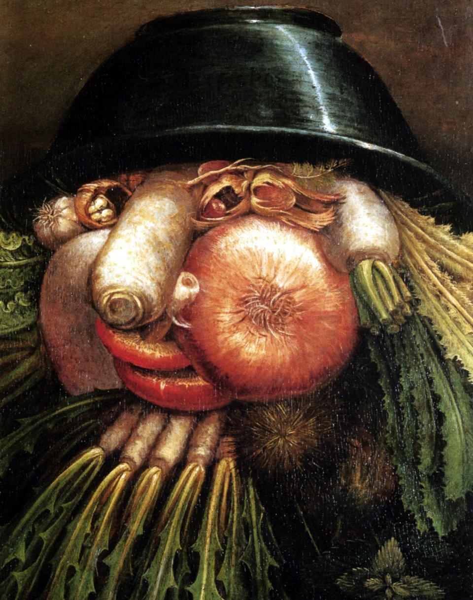 Portret zwarzywami Źródło: Giuseppe Arcimboldo, Portret zwarzywami, 1590, domena publiczna.