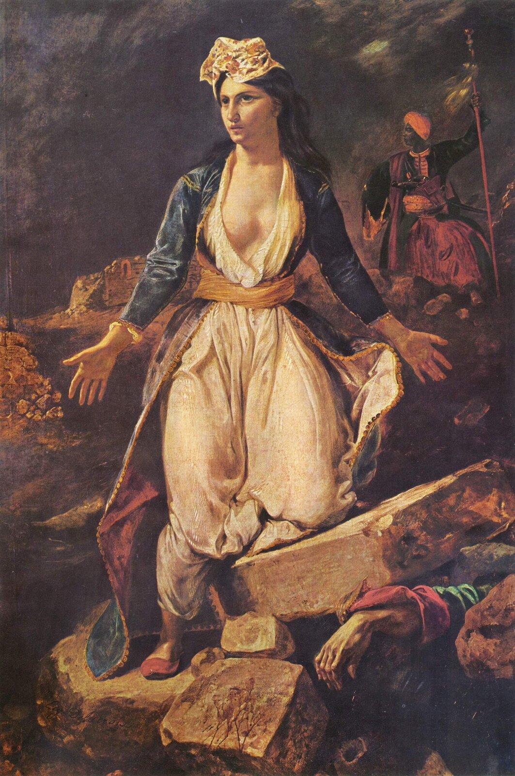 Grecja umierająca na ruinach Missolungi Źródło: Eugène Delacroix, Grecja umierająca na ruinach Missolungi, 1826, olej na płótnie, Musée des Beaux-Arts, Bordeaux, domena publiczna.