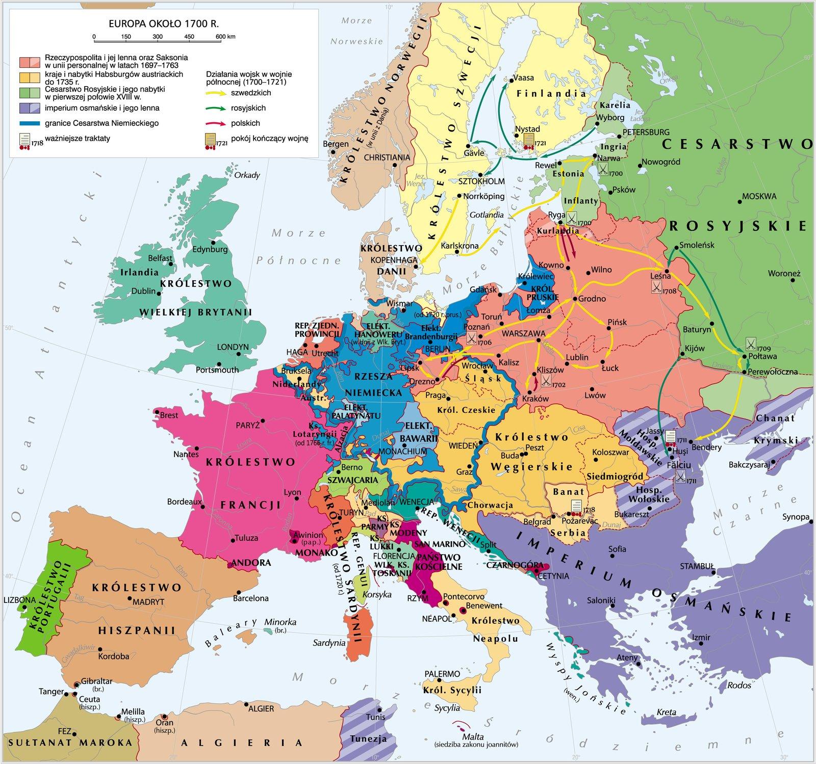 Europa ok. 1700 roku Europa ok. 1700 roku Źródło: Krystian Chariza izespół, licencja: CC BY 4.0.
