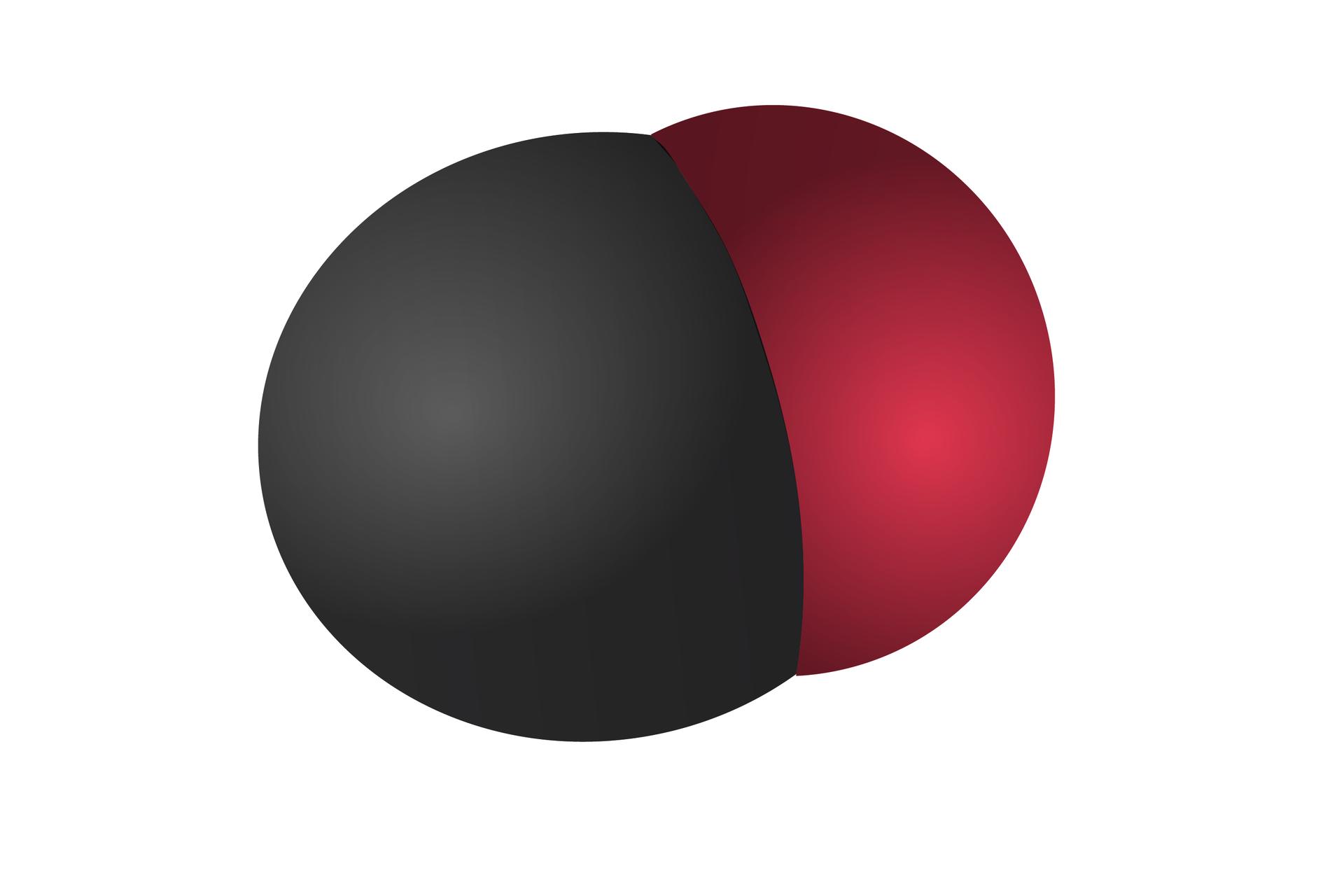 Trzecie zdjęcie (w drugim rzędzie) to cząsteczka tlenku węgla. Cząsteczka to dwie kule przylegające mocno do siebie. Lewa kula czarna, prawa kula czerwona.